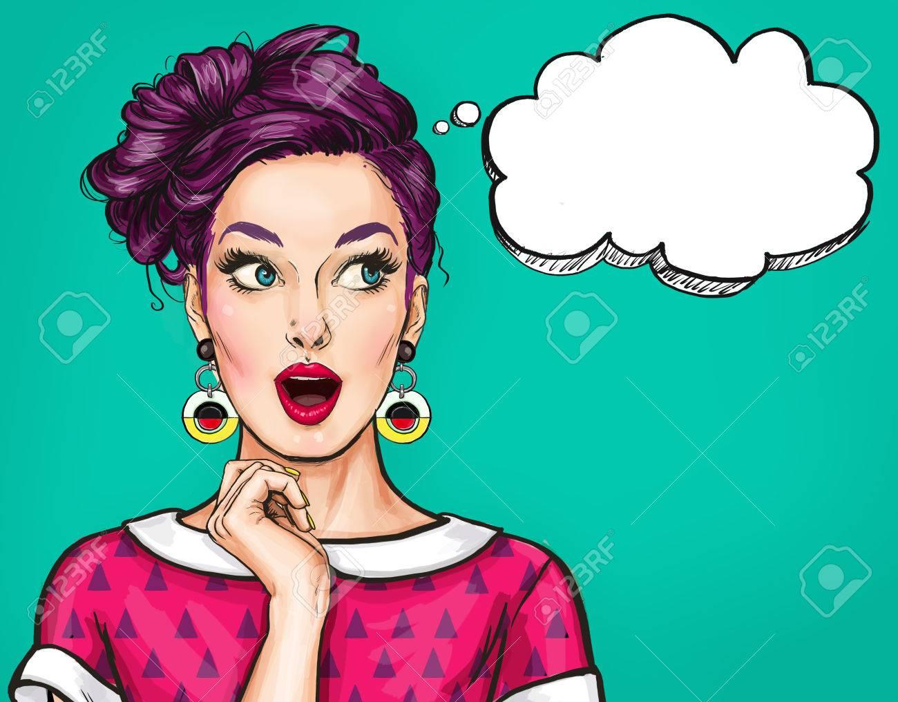Banque dimages surpris jeune femme sexy avec bouche ouverte femme à bord des femmes étonnées pop art girl