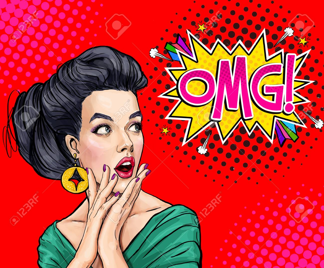 surprised young woman with open mouth amazed women pop art stock