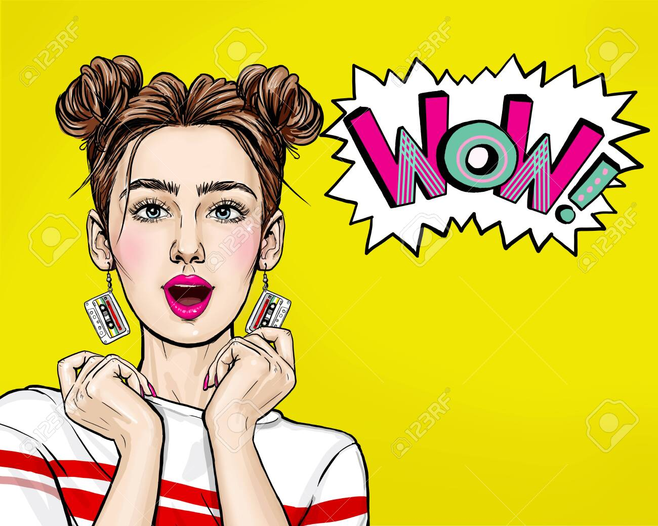 Pop Art woman with wow face holding hands near her cheeks. Advertising poster of sale or discount with club girl. - 144204788