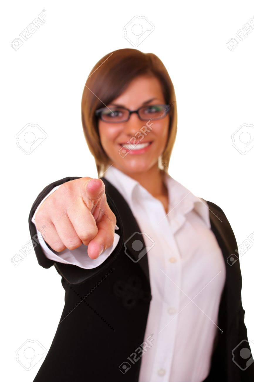 young beautiful businesswoman pointing on you on white background Stock Photo - 6928180