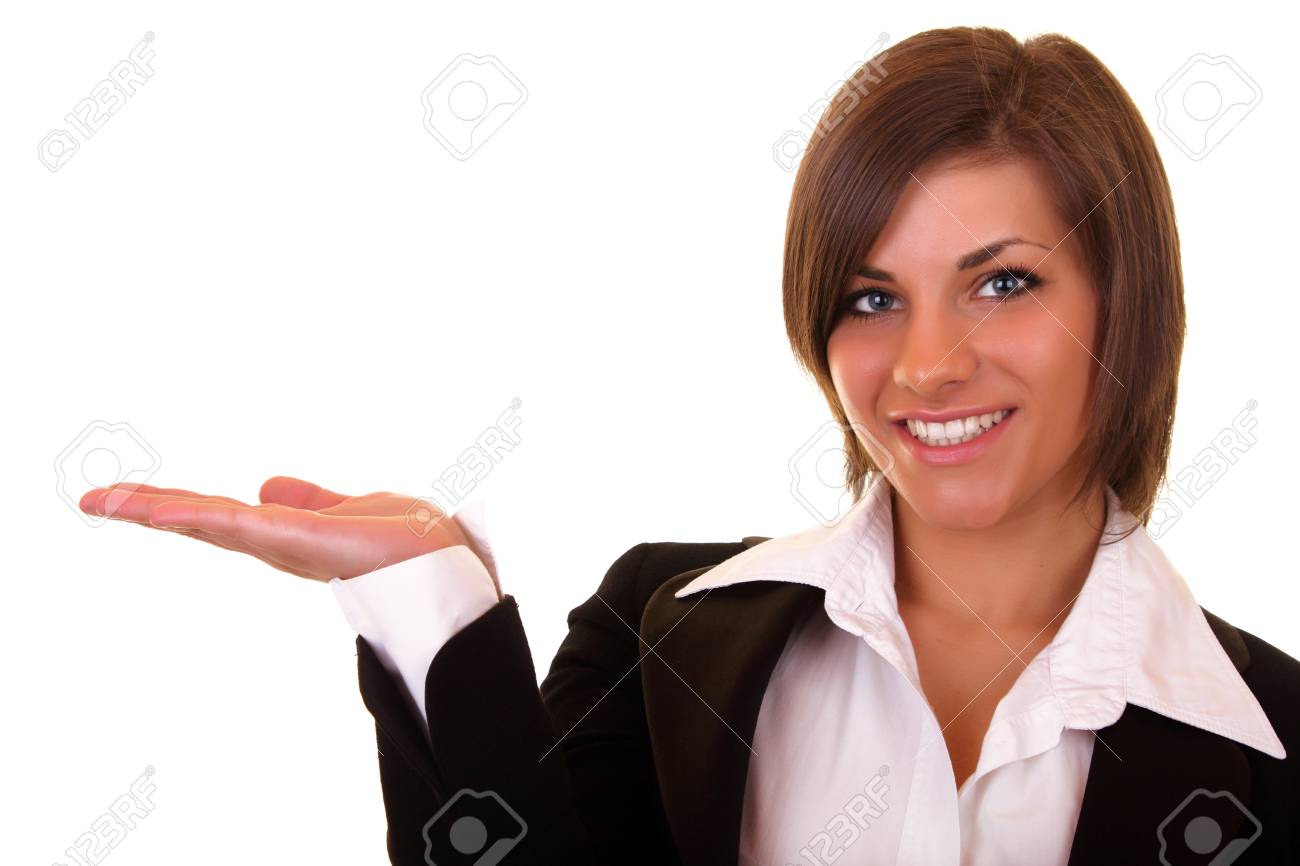 beautiful woman with a big smile holding something Stock Photo - 6928189