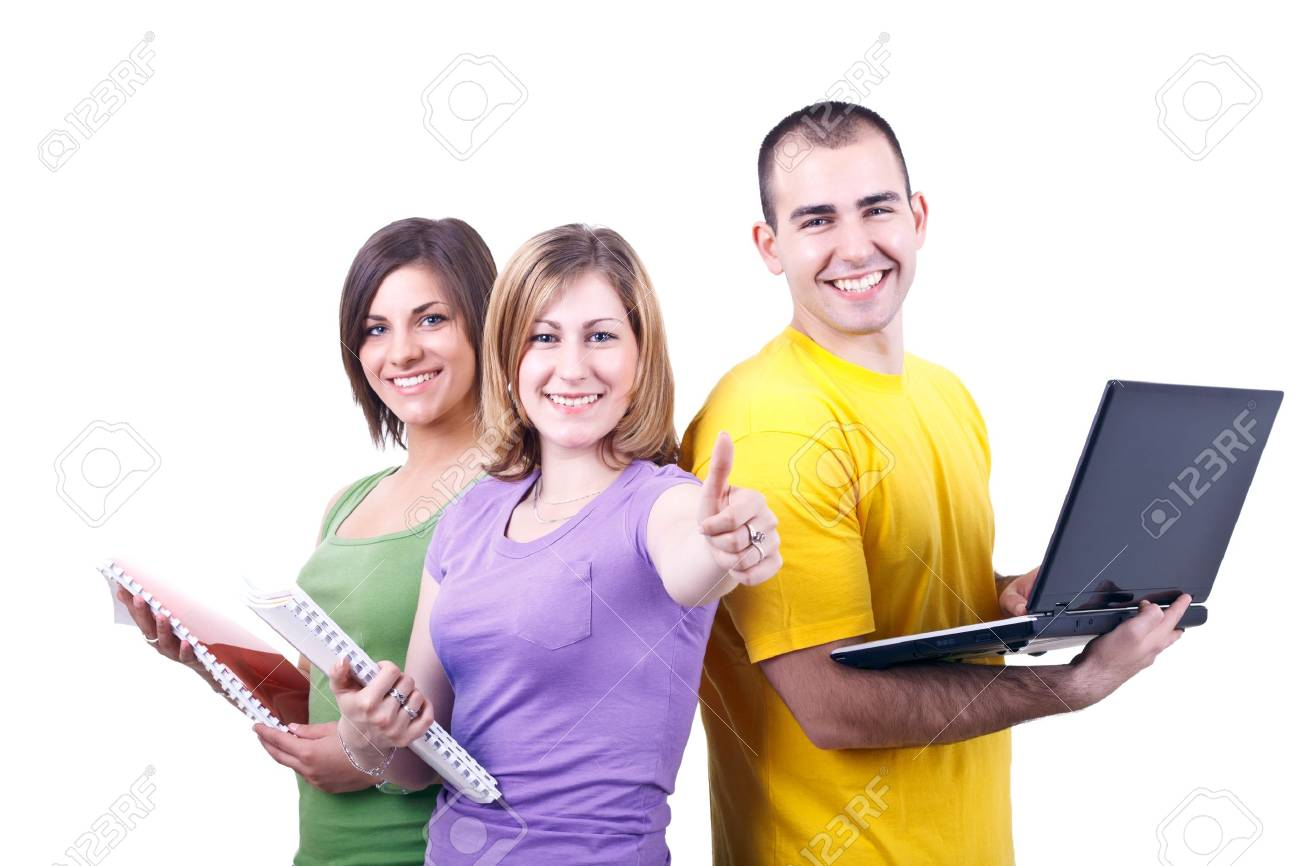 young students posing with books and laptop Stock Photo - 7116833