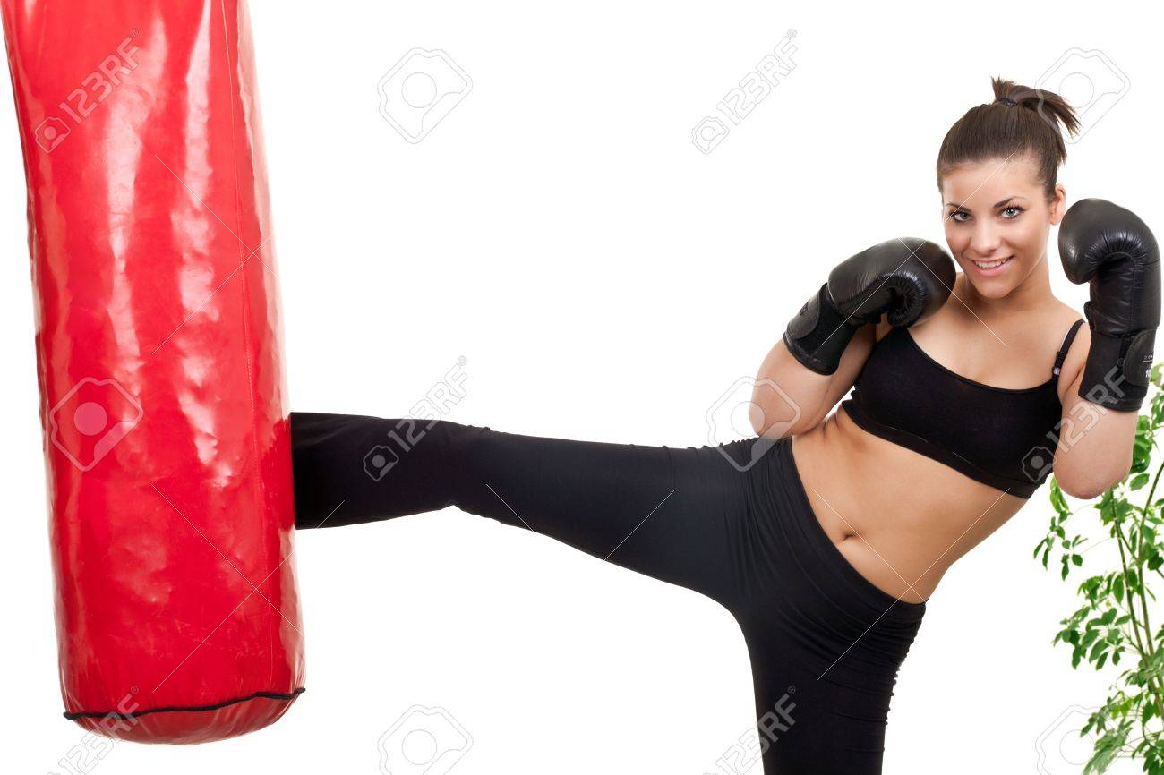 good out x best value best wholesaler female boxer kicking punching bag at home
