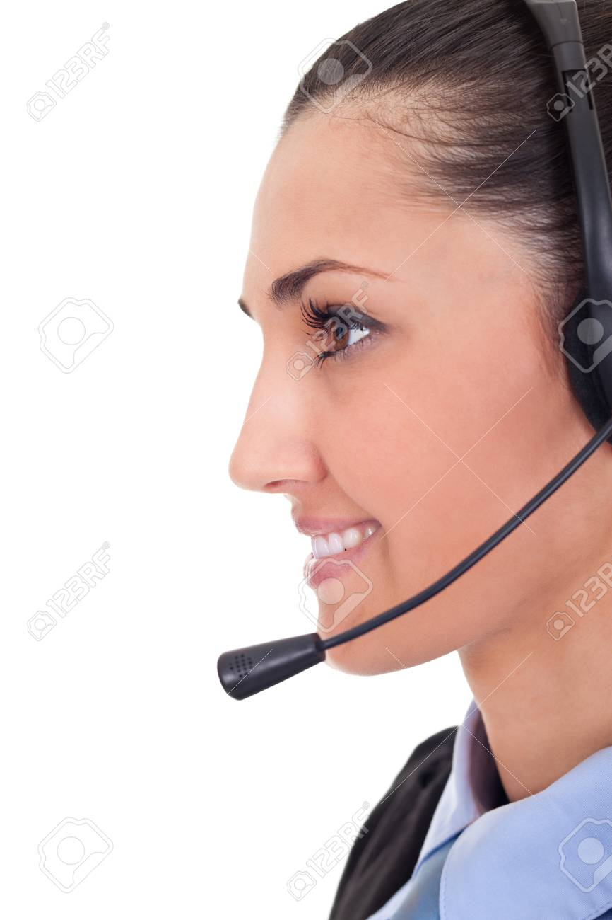 closeup portrait of a happy young lady with headset isolated on white background Stock Photo - 9769187