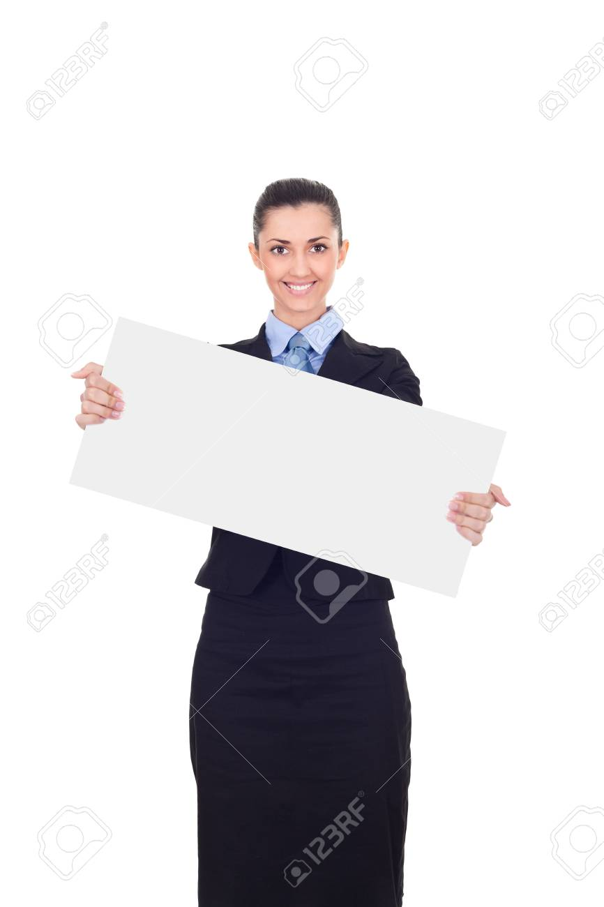 Businesswoman holding a white empty banner or poster , isolated on white background Stock Photo - 10275020