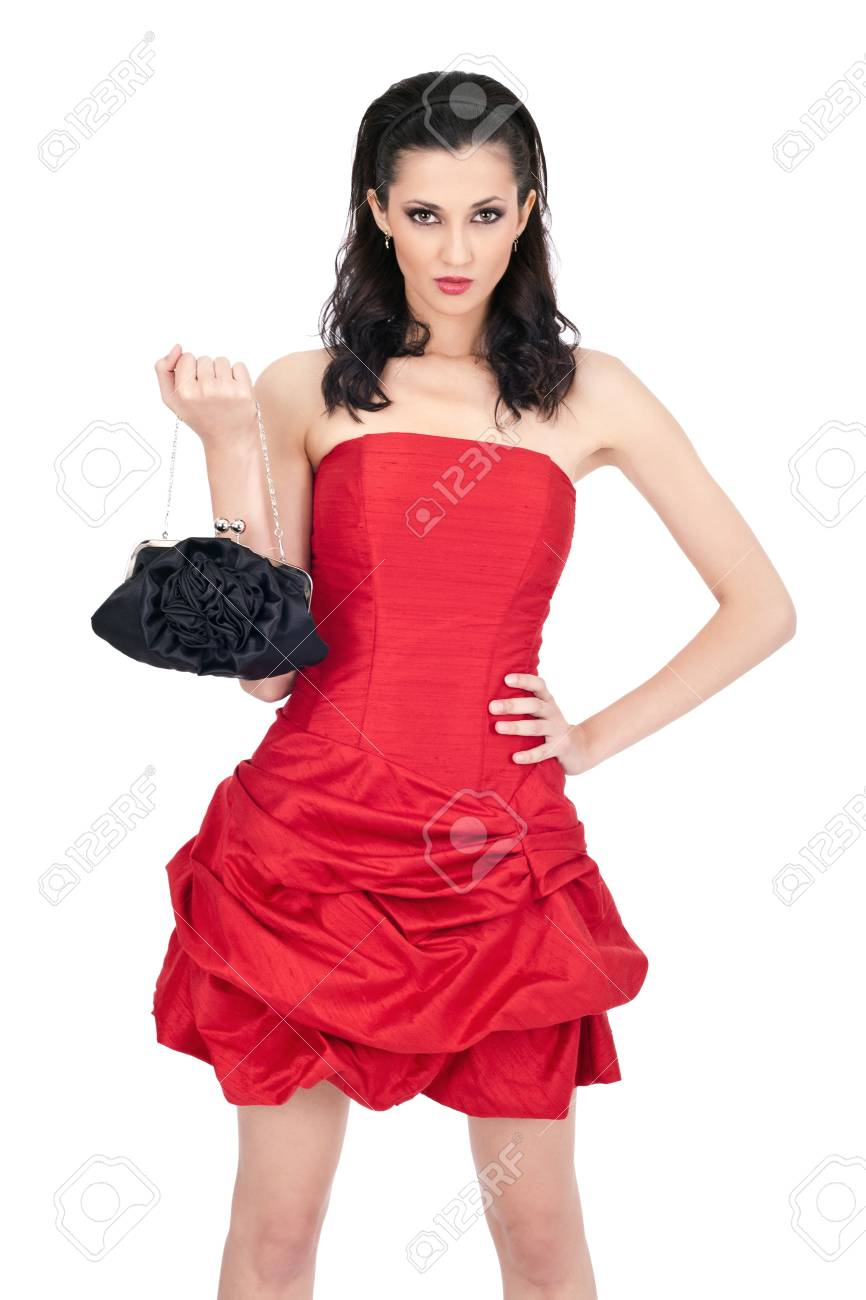 denger,  passion woman in red dress posing on white background Stock Photo - 10274959
