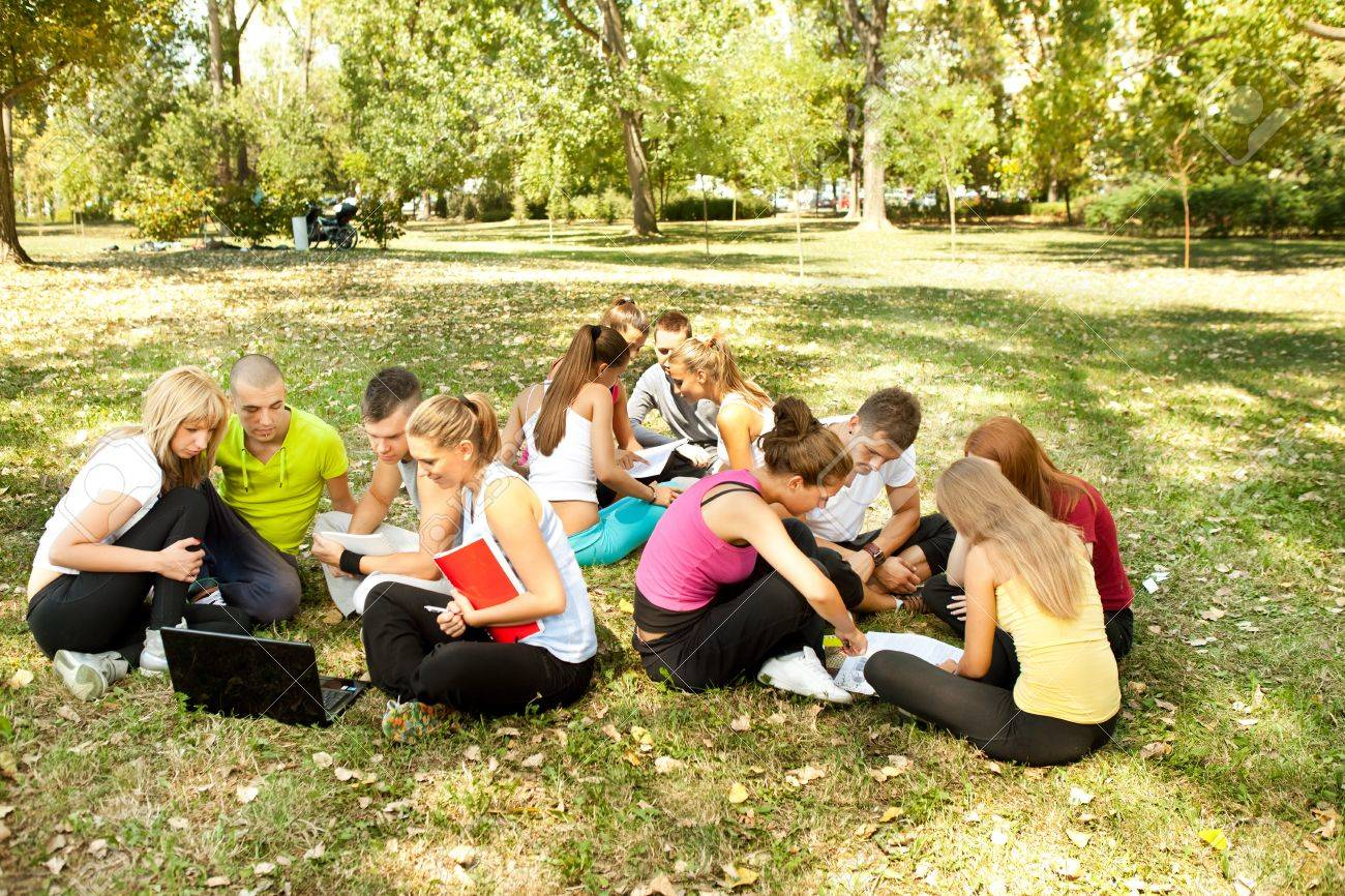 three teams of young students outdoor Stock Photo - 10702870