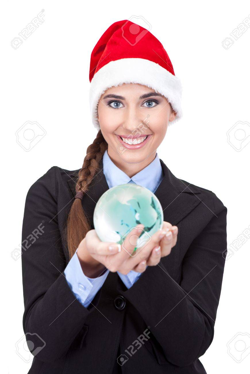cute businesswoman holding  globe in hands, concept - global business, isolated on white background Stock Photo - 11503630