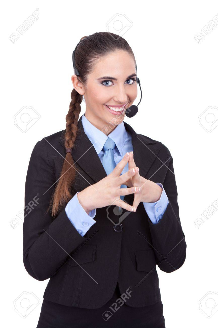 young smiling woman with headset, hello can I help you Stock Photo - 11503890