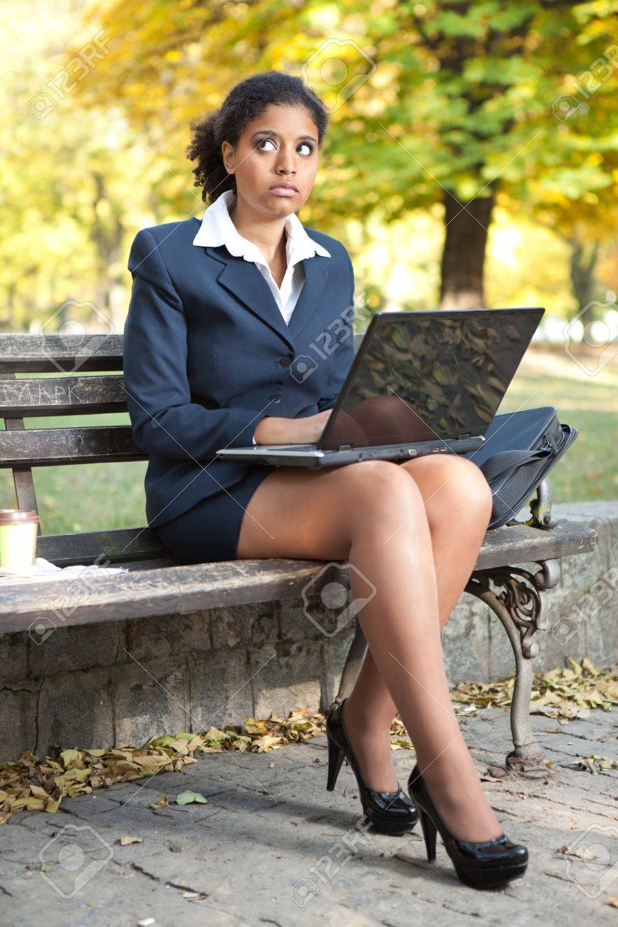 African American businesswoman with laptop , outside Stock Photo - 11508369