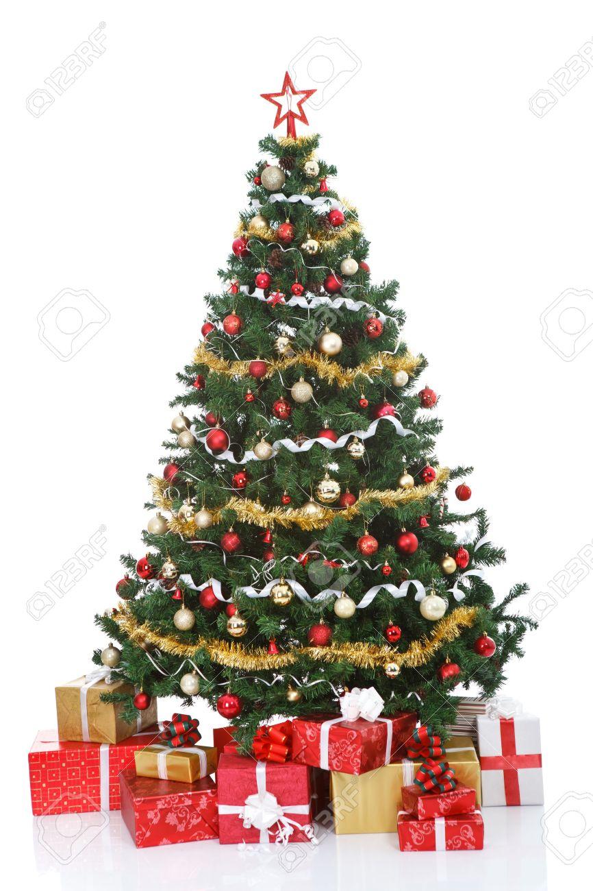 Christmas Tree White Background.Decorated Christmas Tree And Gift Boxes Isolated On White Background
