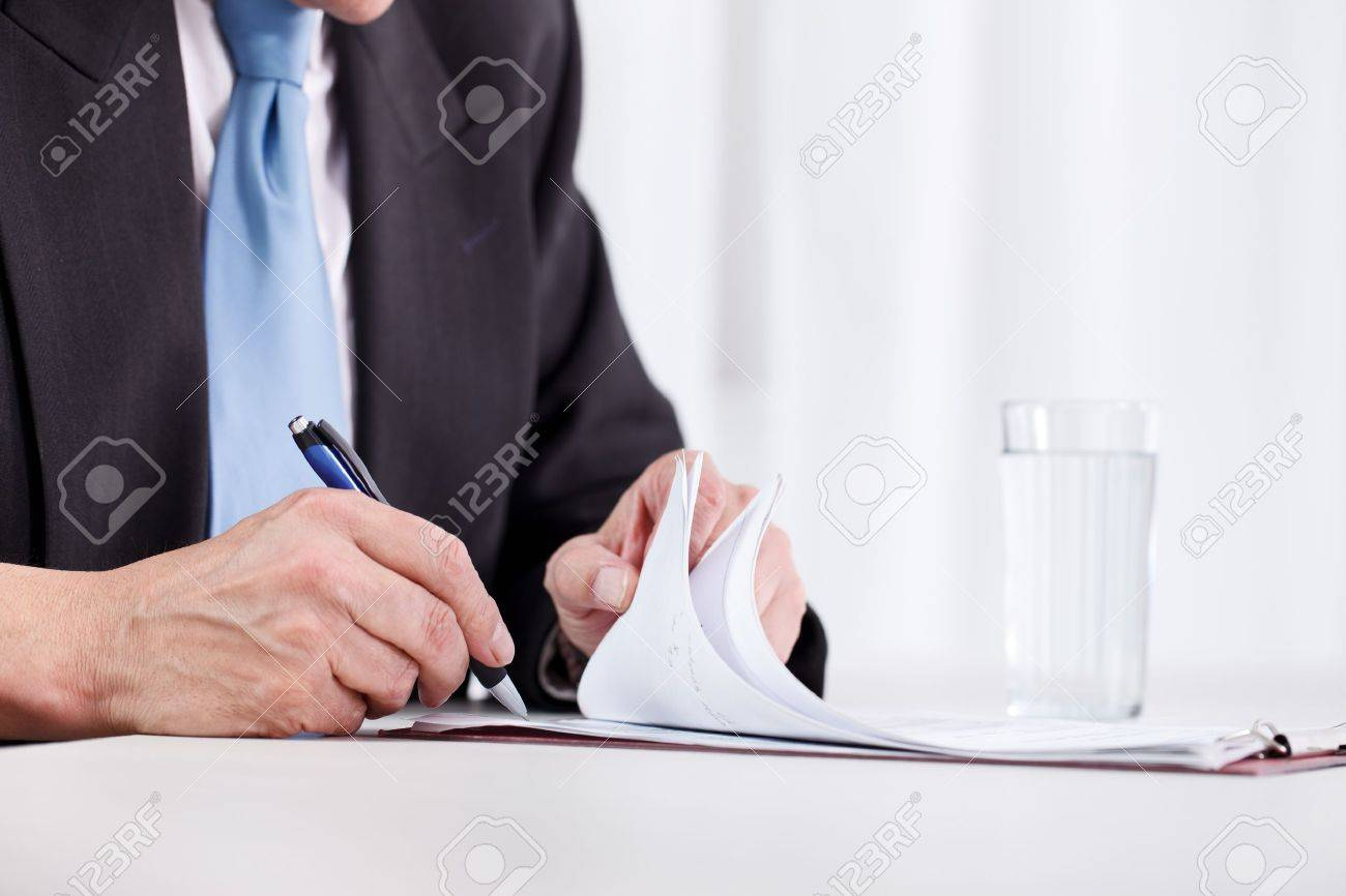 Business Man Hand Writing On Paper Close Up Stock Photo  Picture