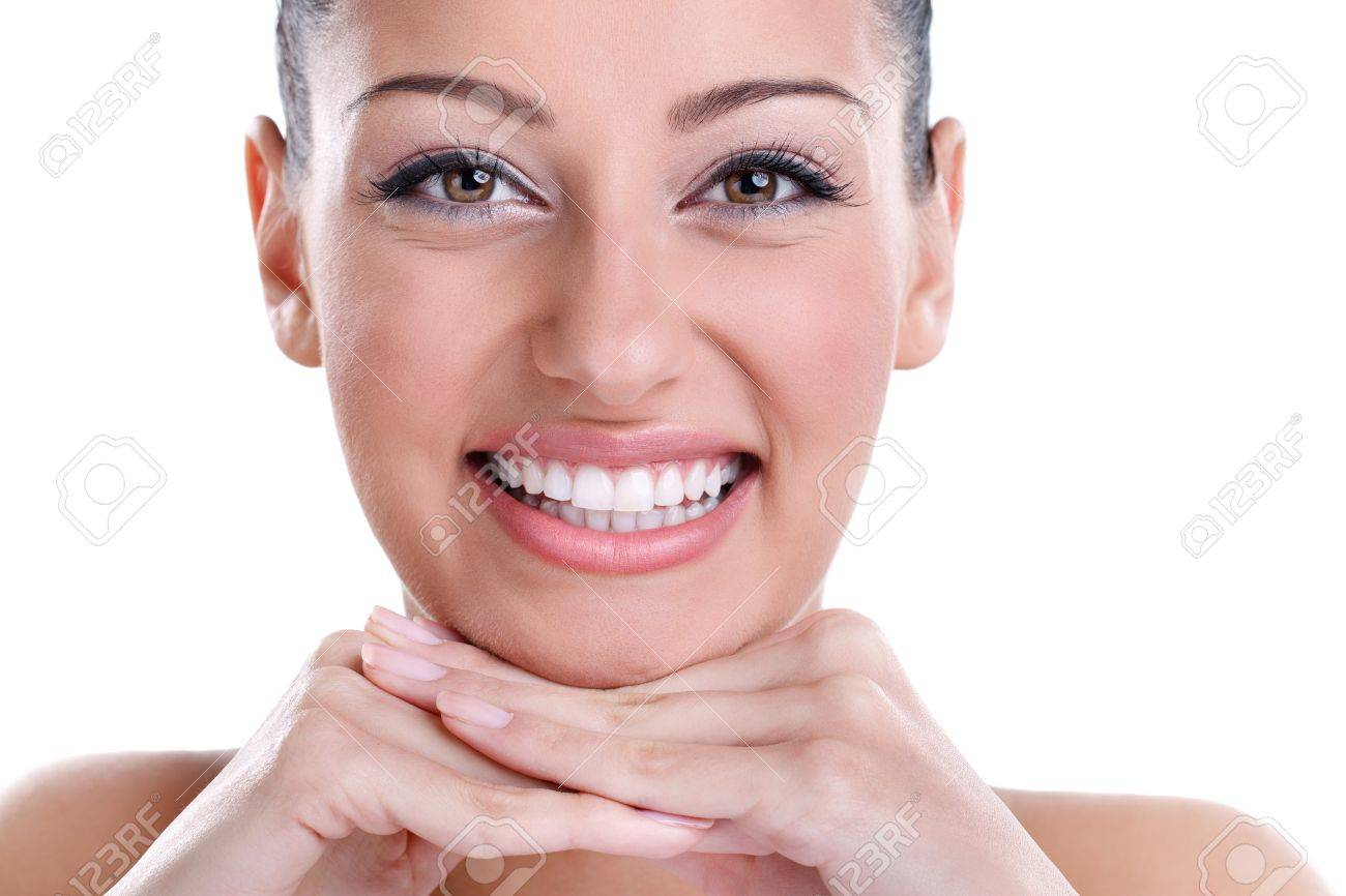 Beautiful smiling with healthy perfect teeth Stock Photo - 14332375