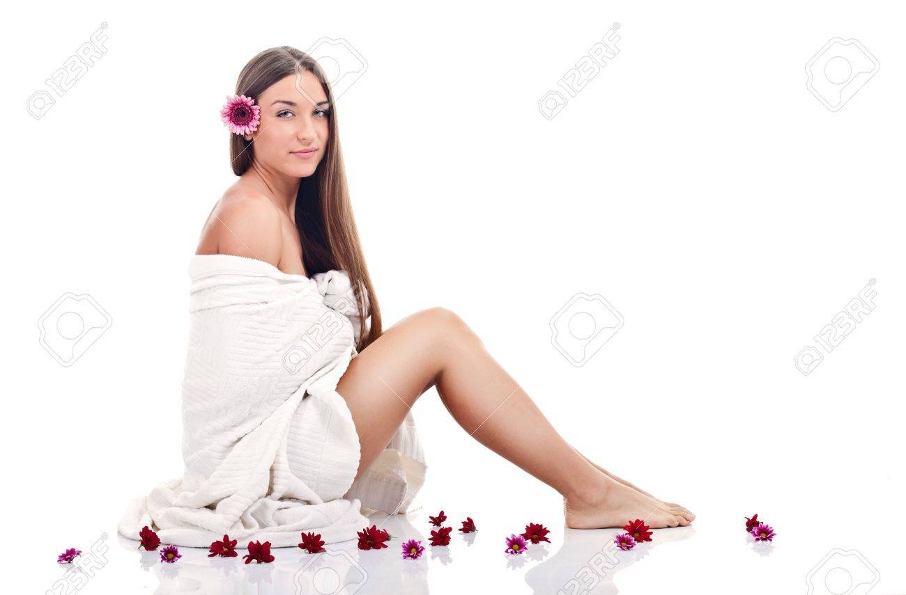 young woman with white towel,  isolated on white background Stock Photo - 14734441