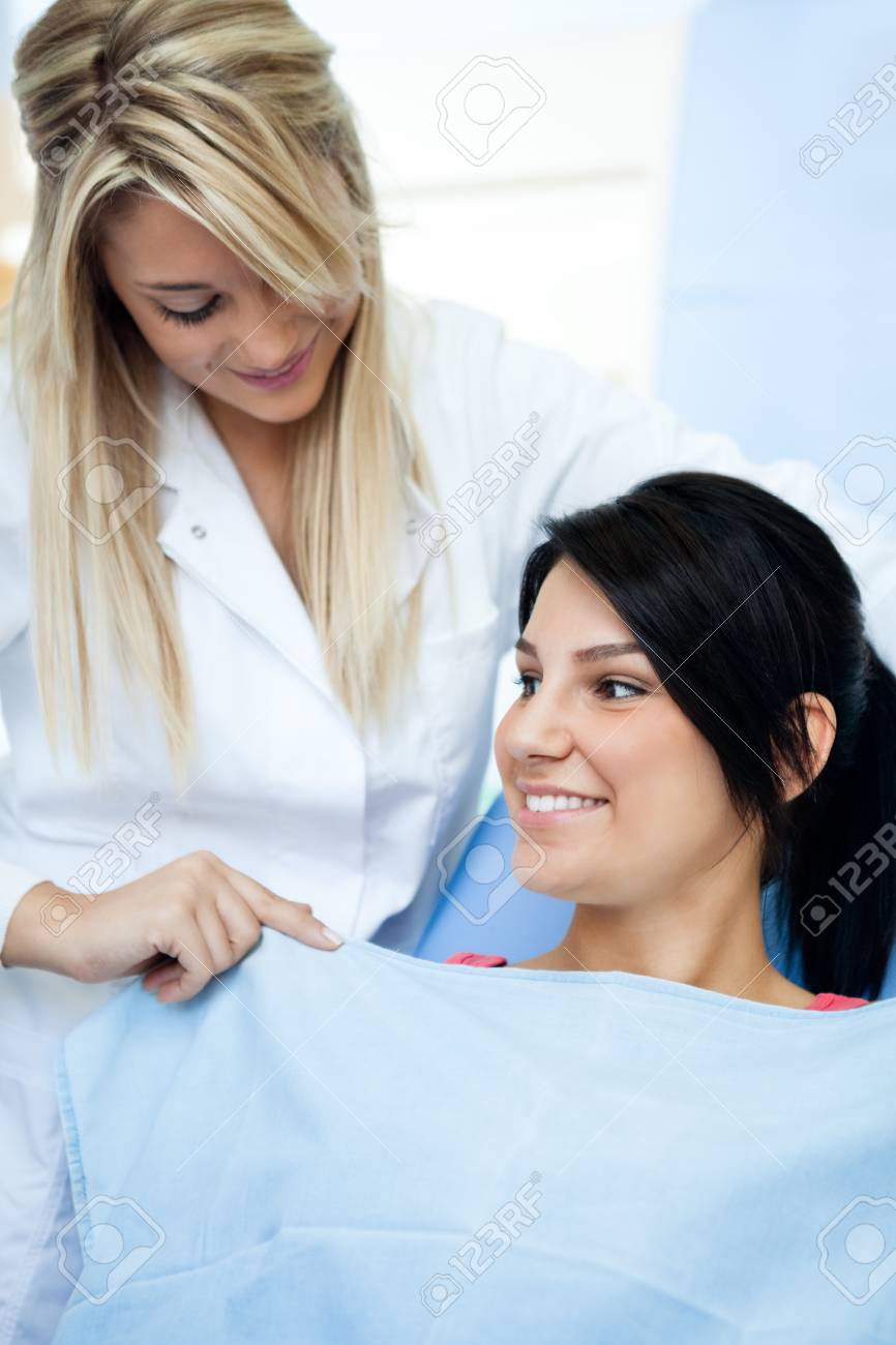 young female dentists assistant preparing  patient Stock Photo - 16860963