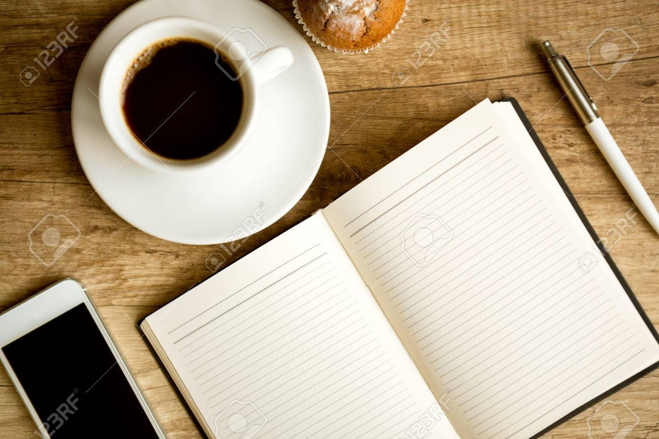 top office table cup. Office Table With Coffee Cup And Supplies, Top View Stock Photo - 29053764 V