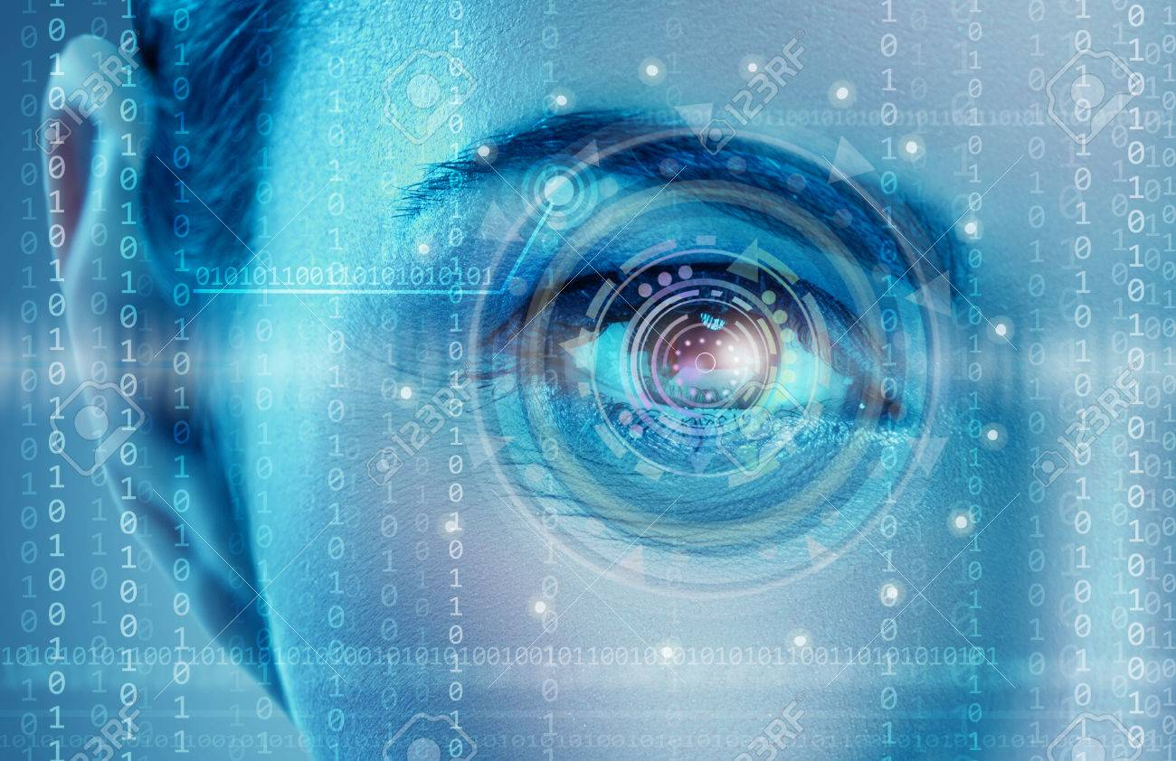 Eye viewing digital information represented by circles and signs Stock Photo - 31582244