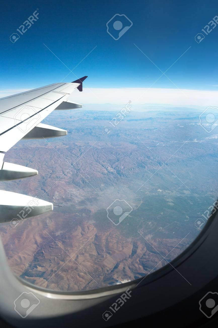 Schöne Aussicht Aus Dem Flugzeug Fenster Blick Auf Die Bucht