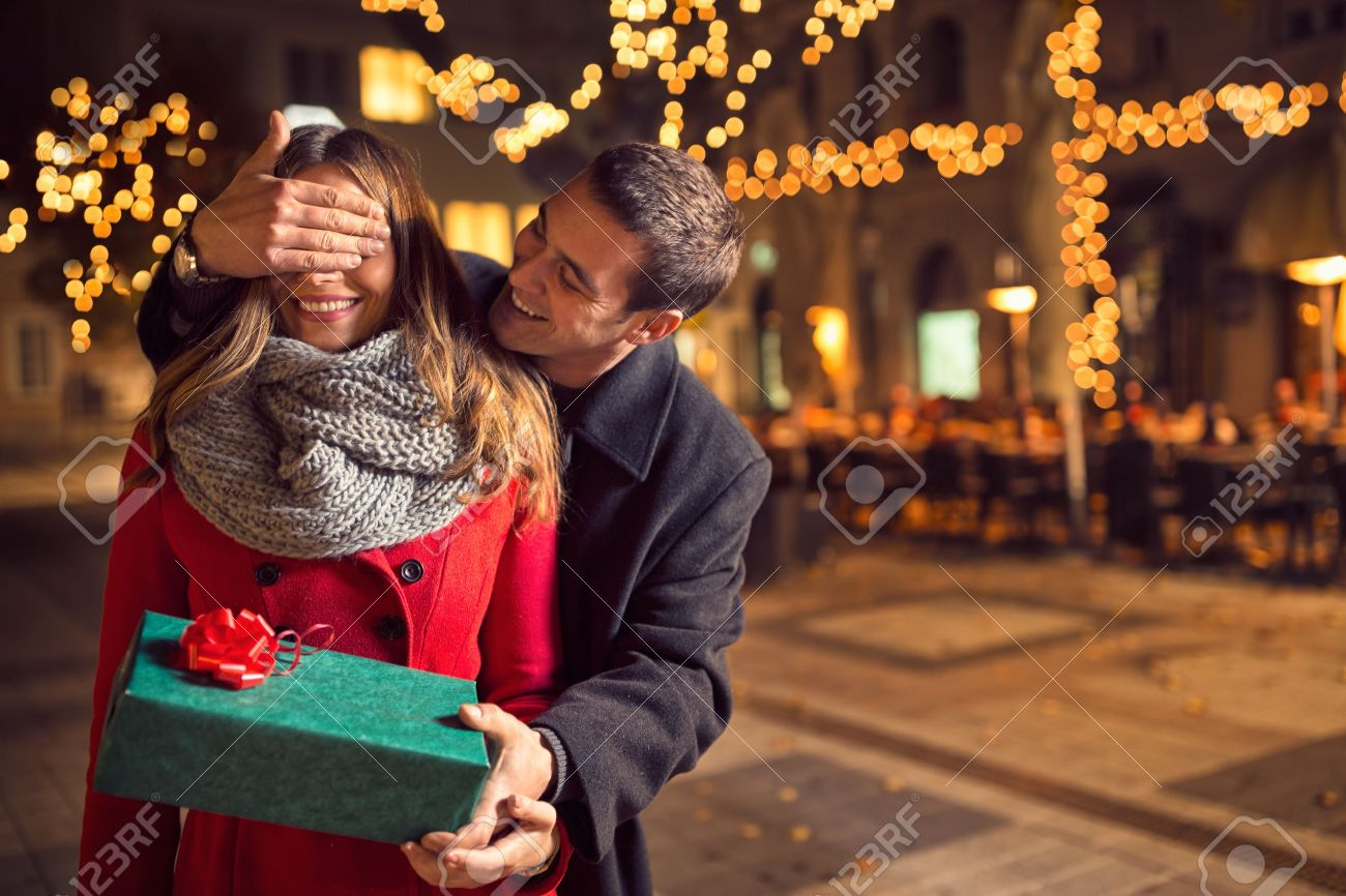 A Boyfriend For Christmas.Romantic Surprise For Christmas Woman Receives A Gift From