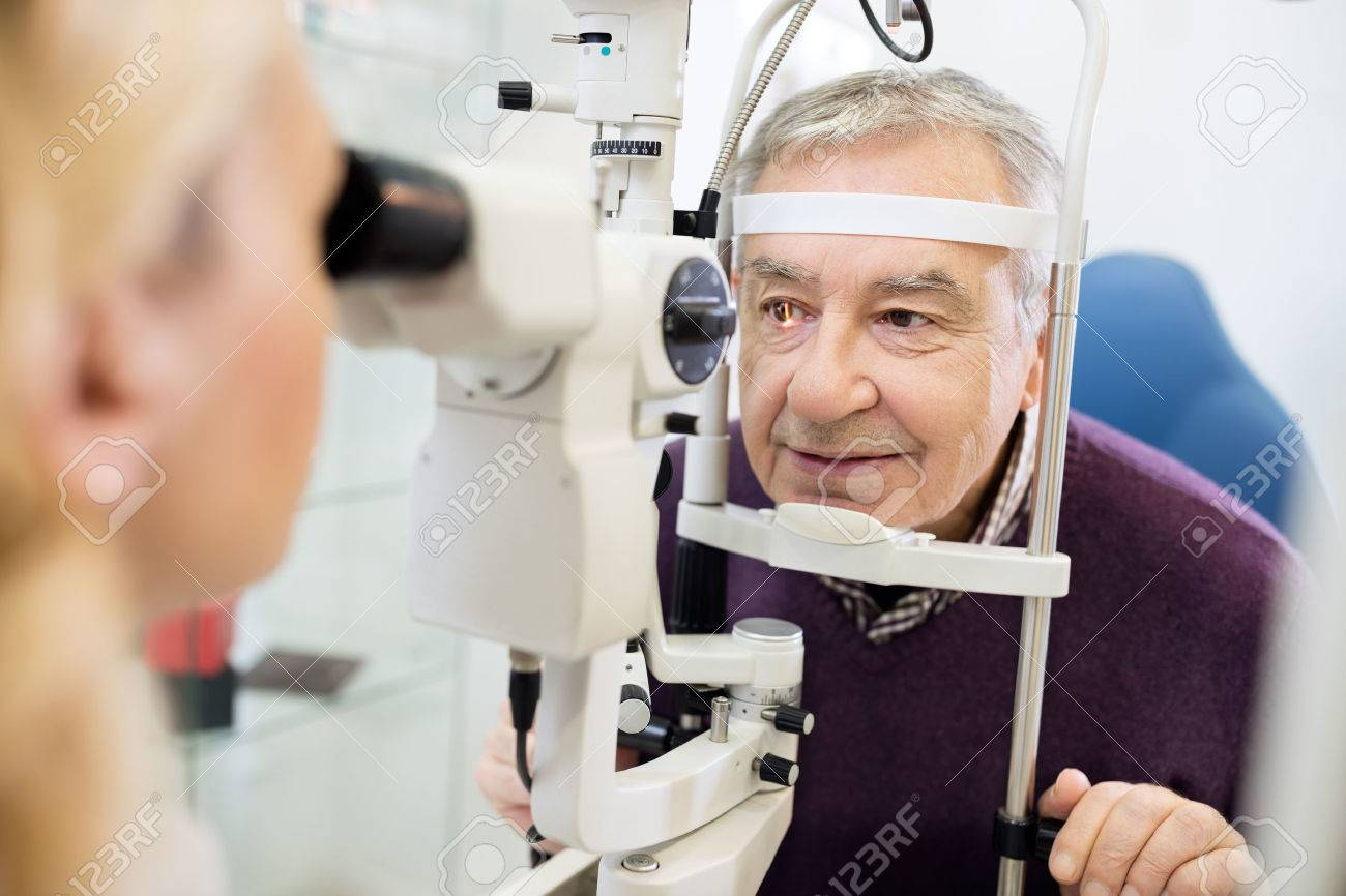 Young Female Eye Specialist Determines Distance Of Eyes Pupils Stock Photo Picture And Royalty Free Image Image 53596853