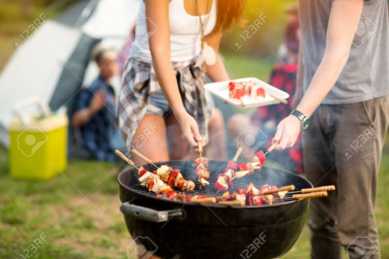 Close up grill with colorful barbecue on grill in campground Banque d'images - 56490500
