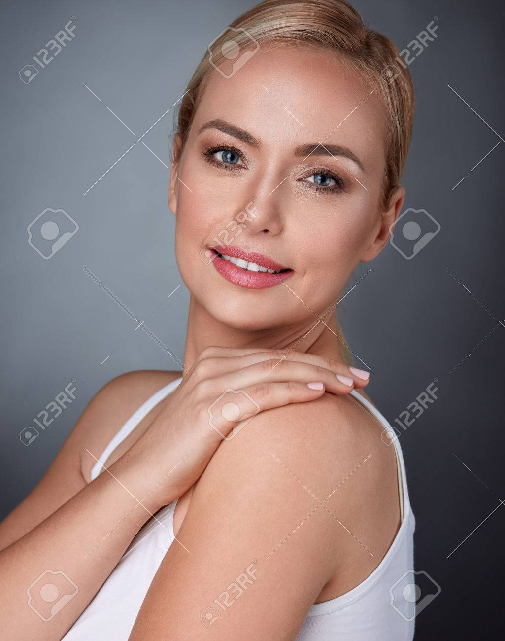 A your shoulder when woman touches 46 Male