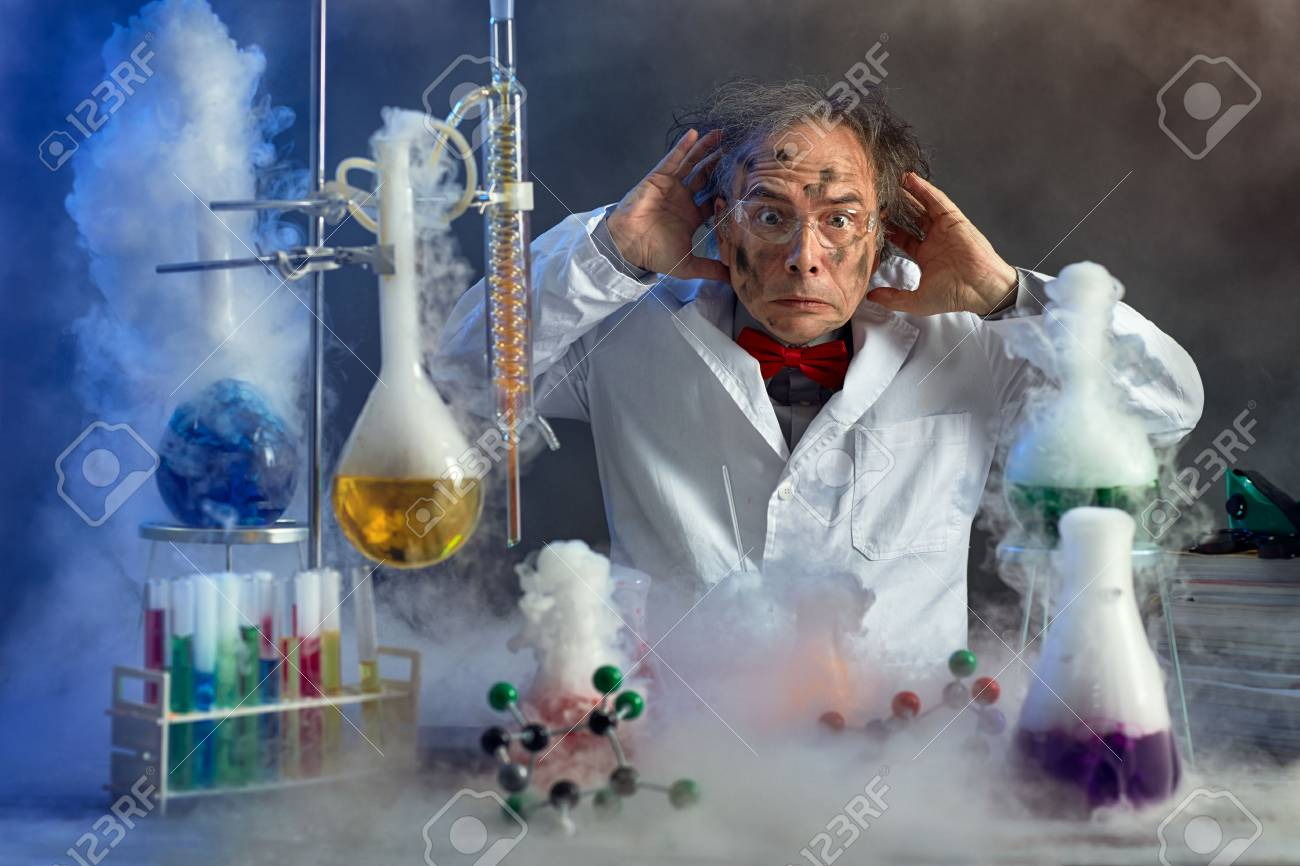 frightened scientist front of experiment that exploded in lab - 85087811