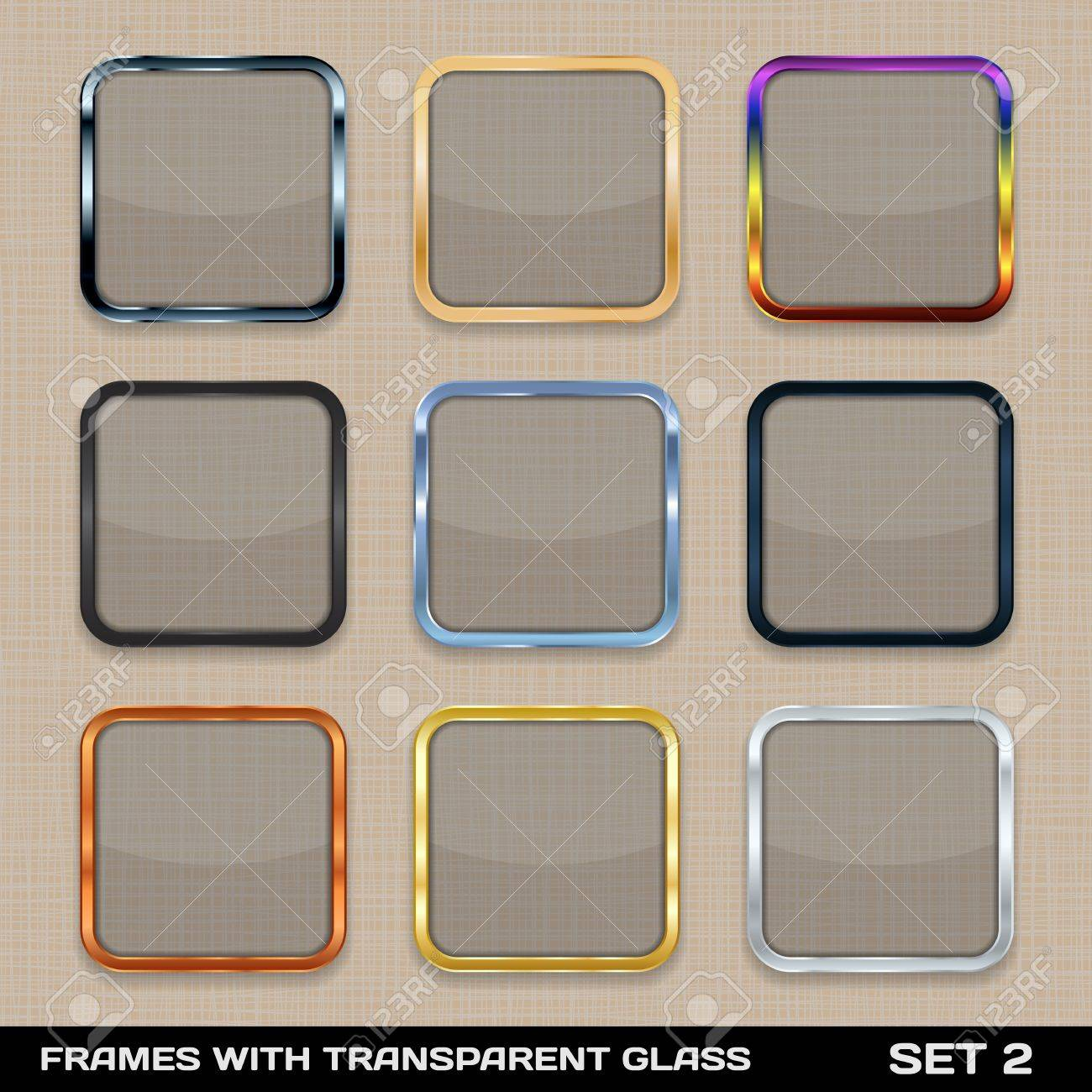 Set Of Colorful App Icon Frames, Templates, Buttons Set 2 Royalty ...