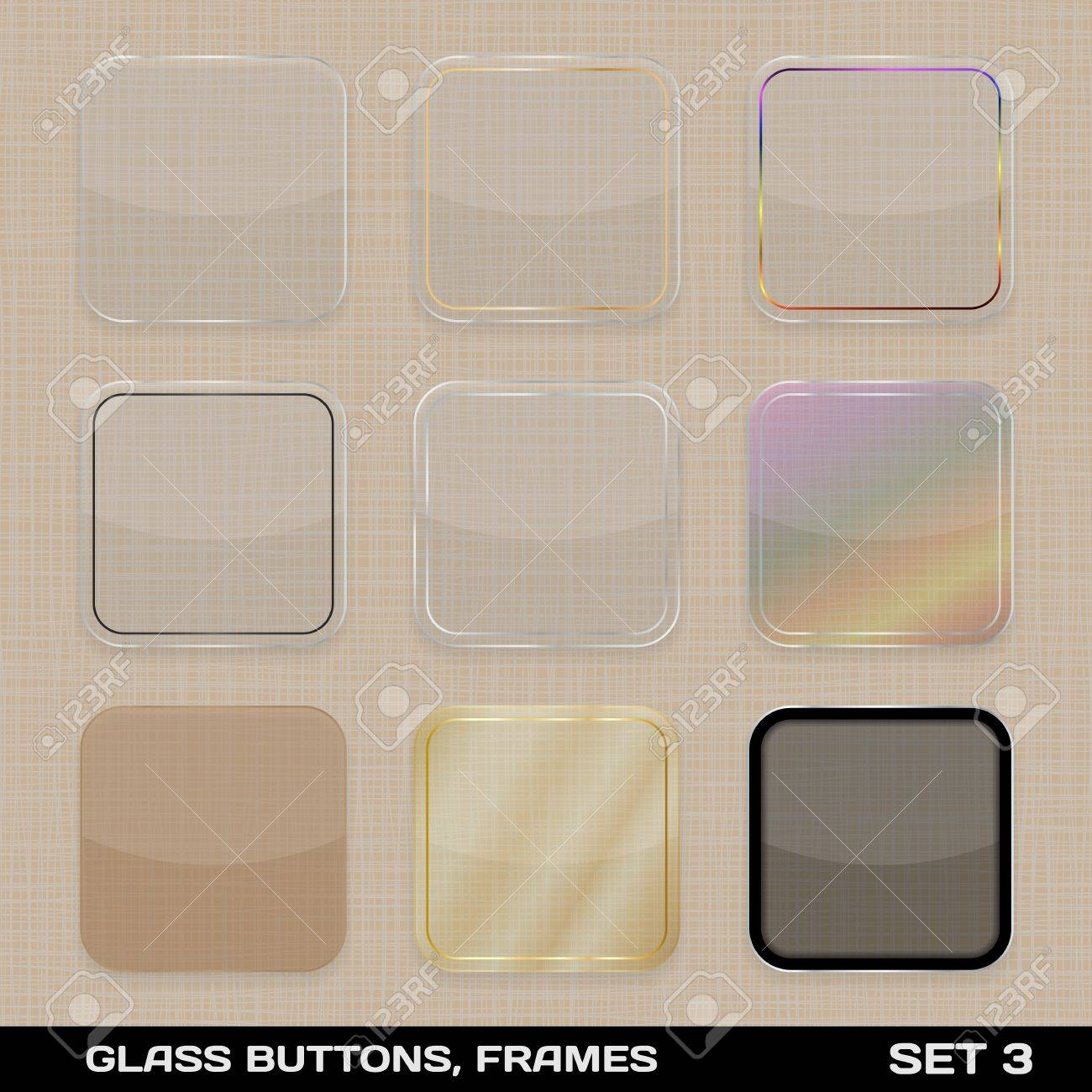 Set Of Colorful App Icon Frames, Templates, Buttons Set 3 Royalty ...