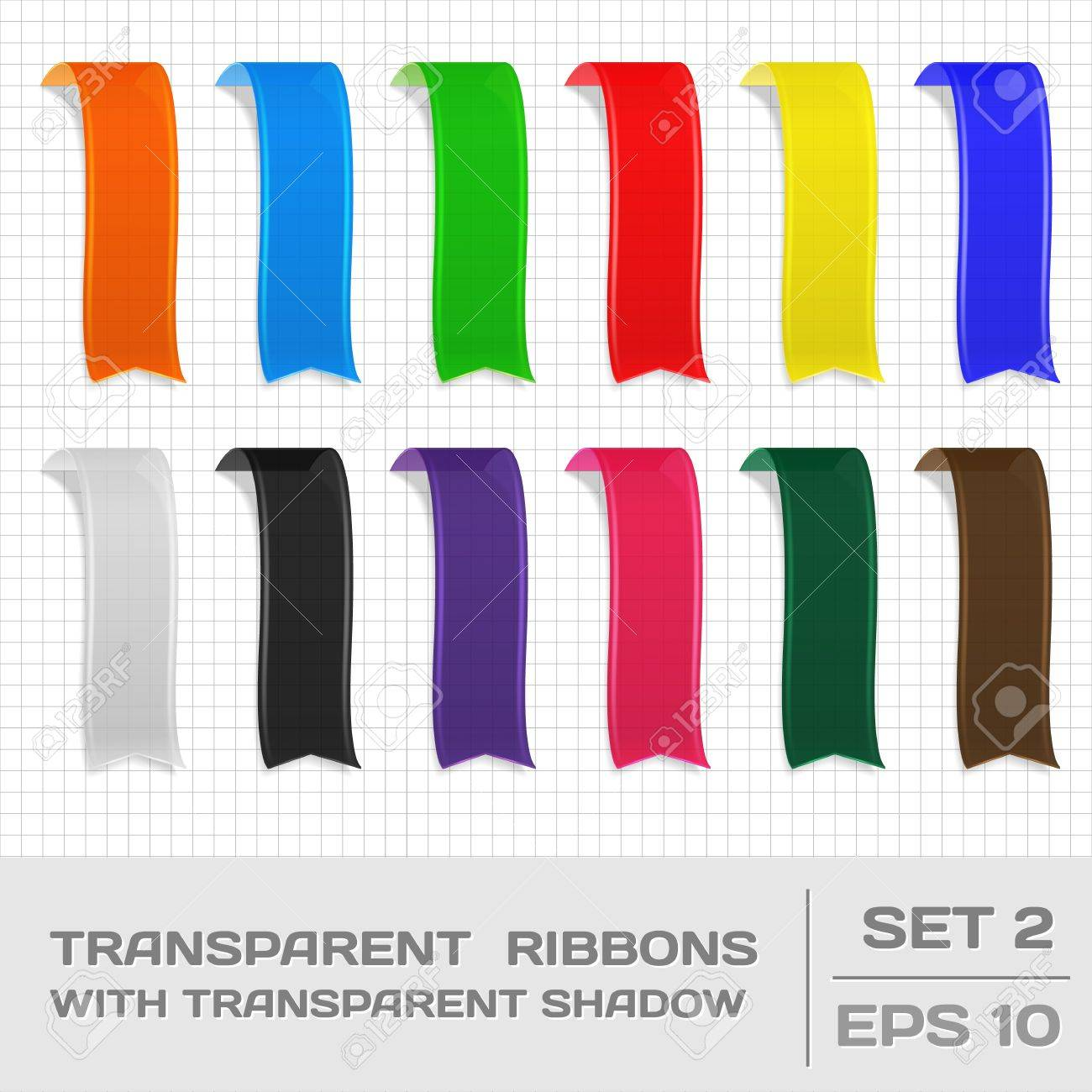 Transparent Ribbons Set 2. Tags, Bookmarks Stock Vector - 18132765