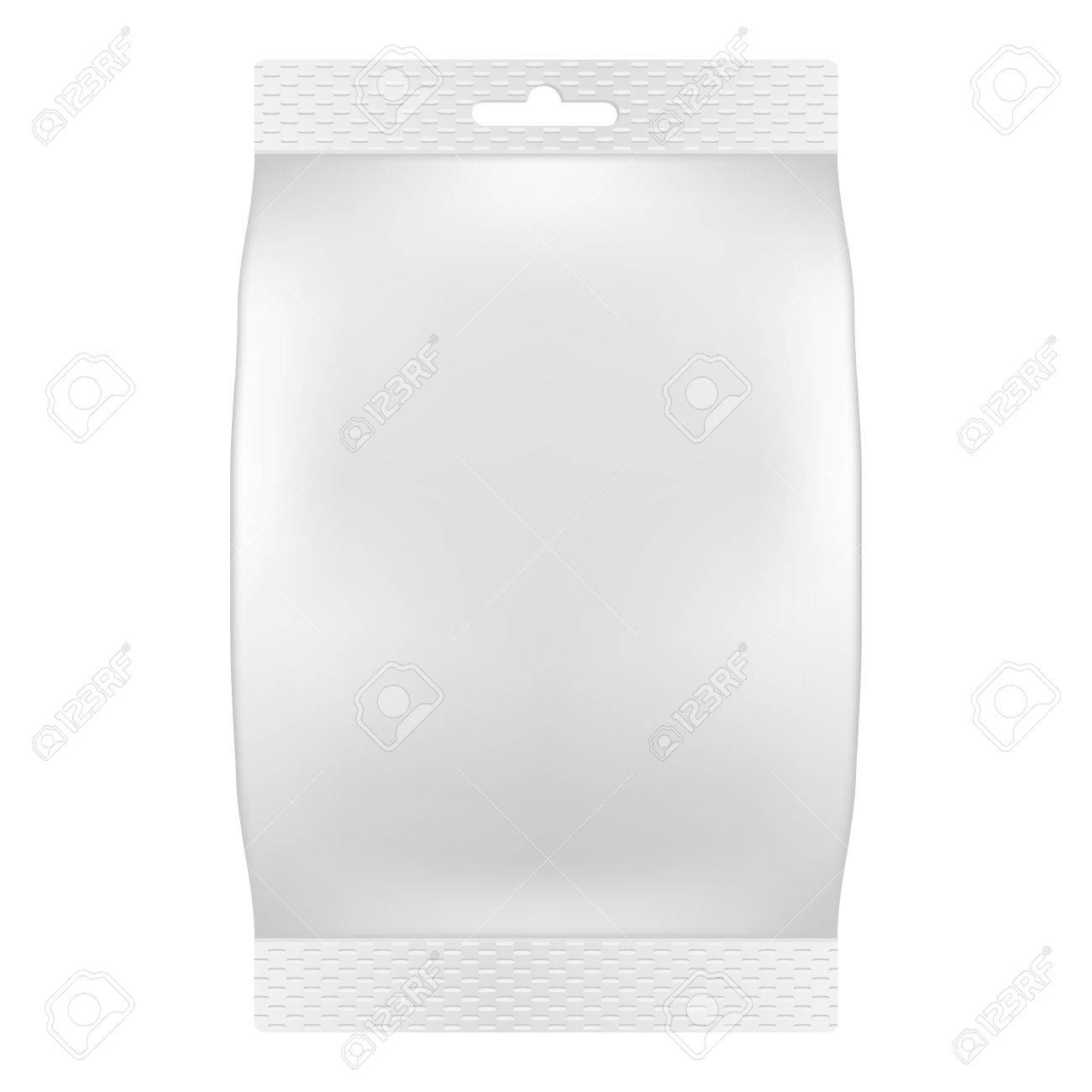Blank white bag packaging for wipes, tissues or food  Vector  Product package template Stock Vector - 18633383