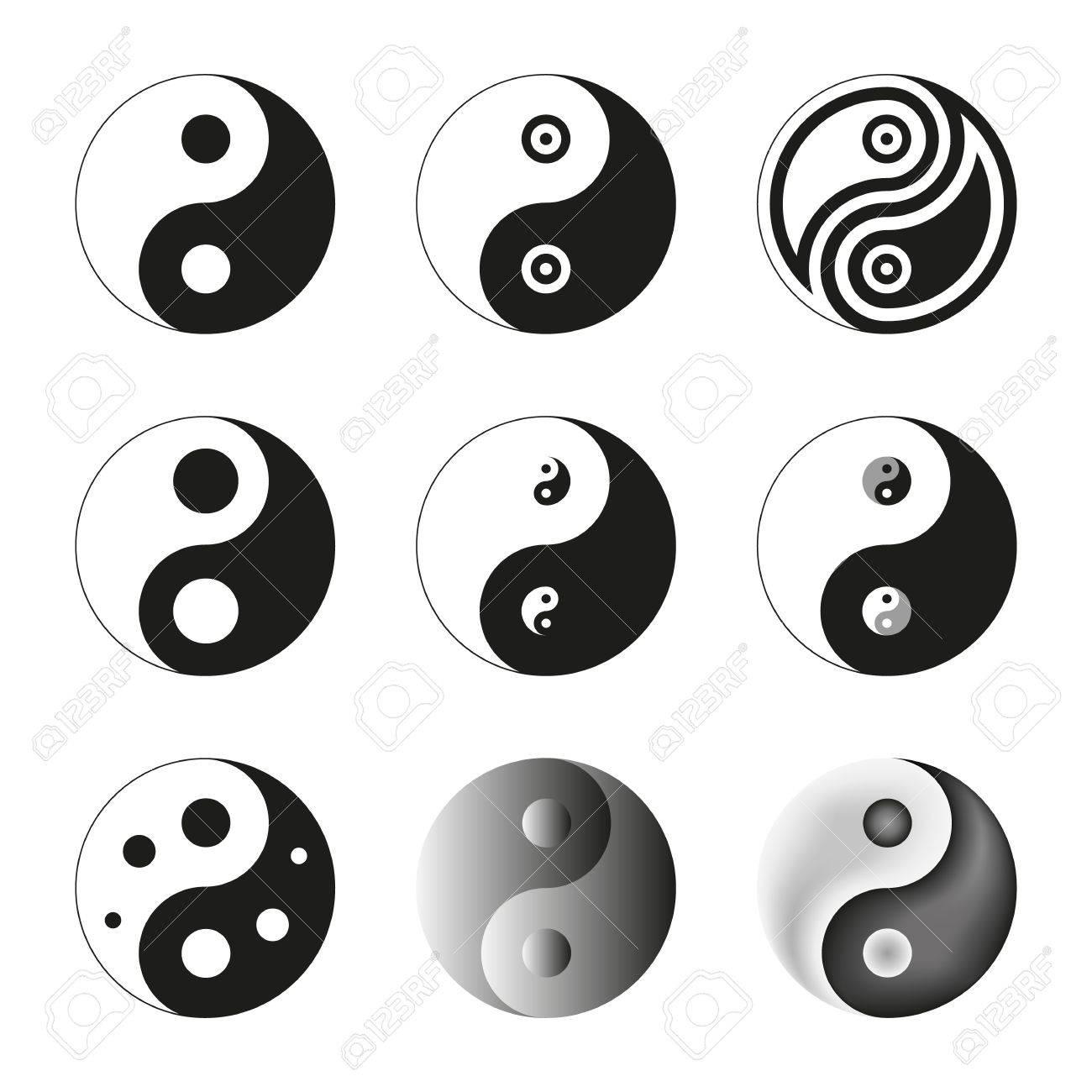 Yin Yang, Symbol Of Balance And Harmony Set Vector Illustration ...