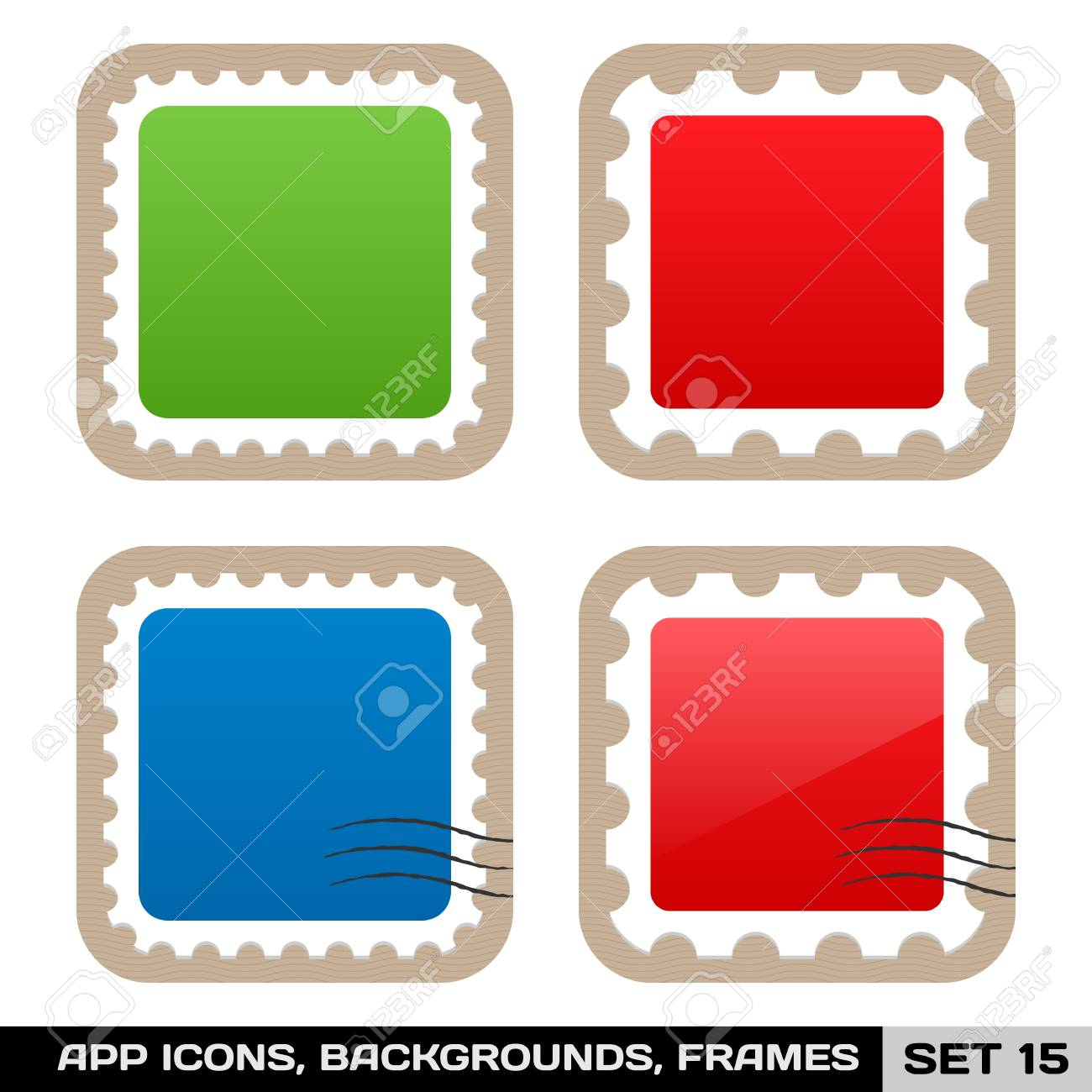 Set Of Colorful App Icon Frames, Templates, Buttons Set 15 Royalty ...