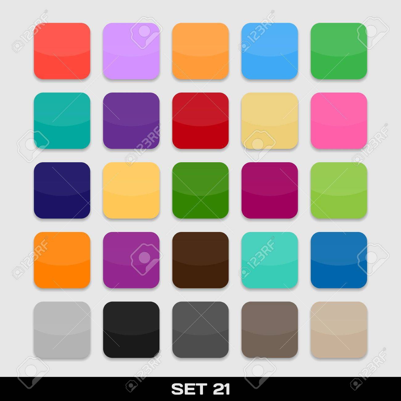 set of colorful app icon templates frames backgrounds set