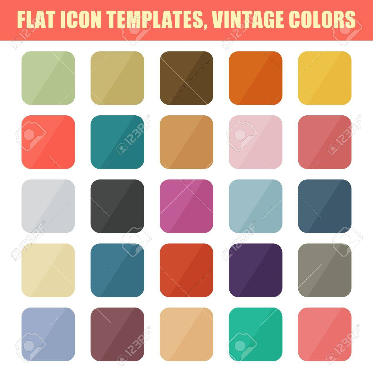 set of flat app icon templates backgrounds vintage palette