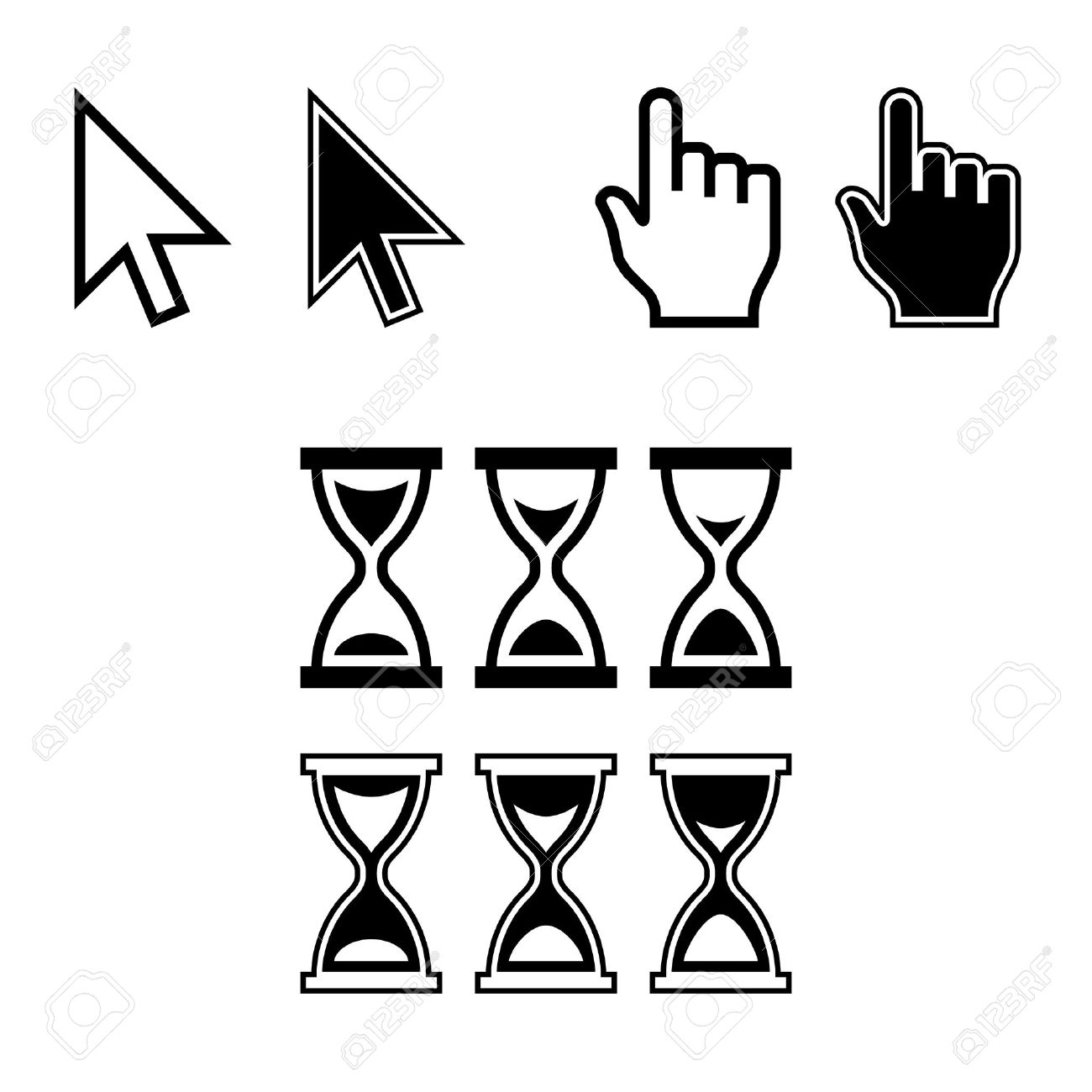 Cursor Icons. Mouse Pointer Set. Arrow, Hand, Hourglass. Vector Stock Vector - 23860350