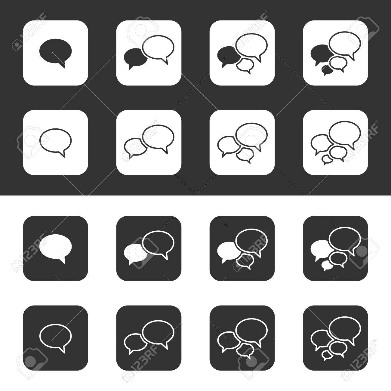 Trendy Thin Icons With Speech Bubbles  Set  Vector Stock Vector - 24251326