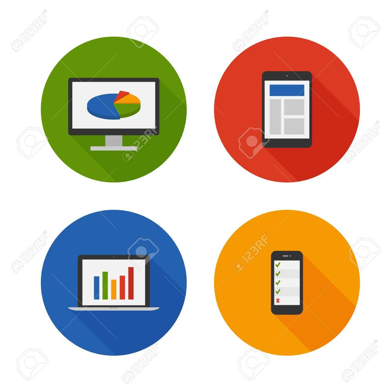 Responsive Design. Flat Icons Set. Vector Stock Vector - 25118930