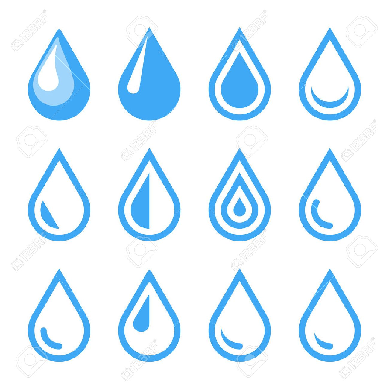 Water Drop Emblem. Logo Template. Icon Set. Vector. Royalty Free ...