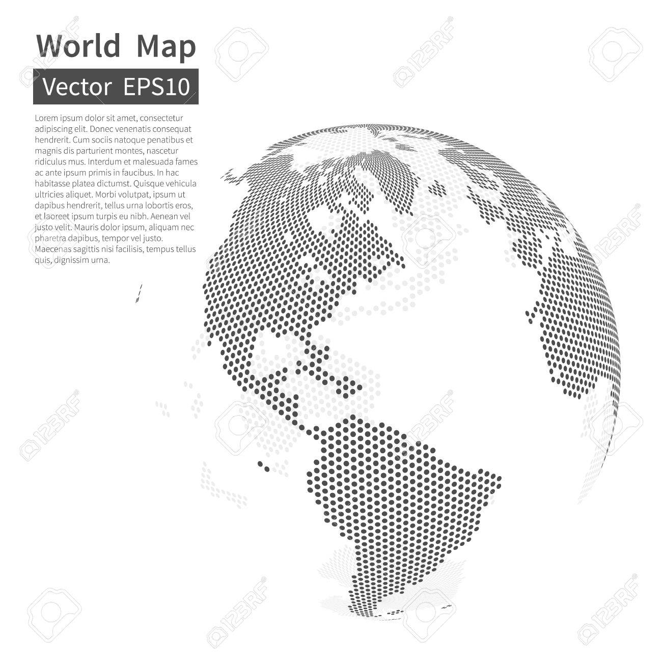 Dotted world map background earth globe globalization concept dotted world map background earth globe globalization concept black and white vector gumiabroncs Images