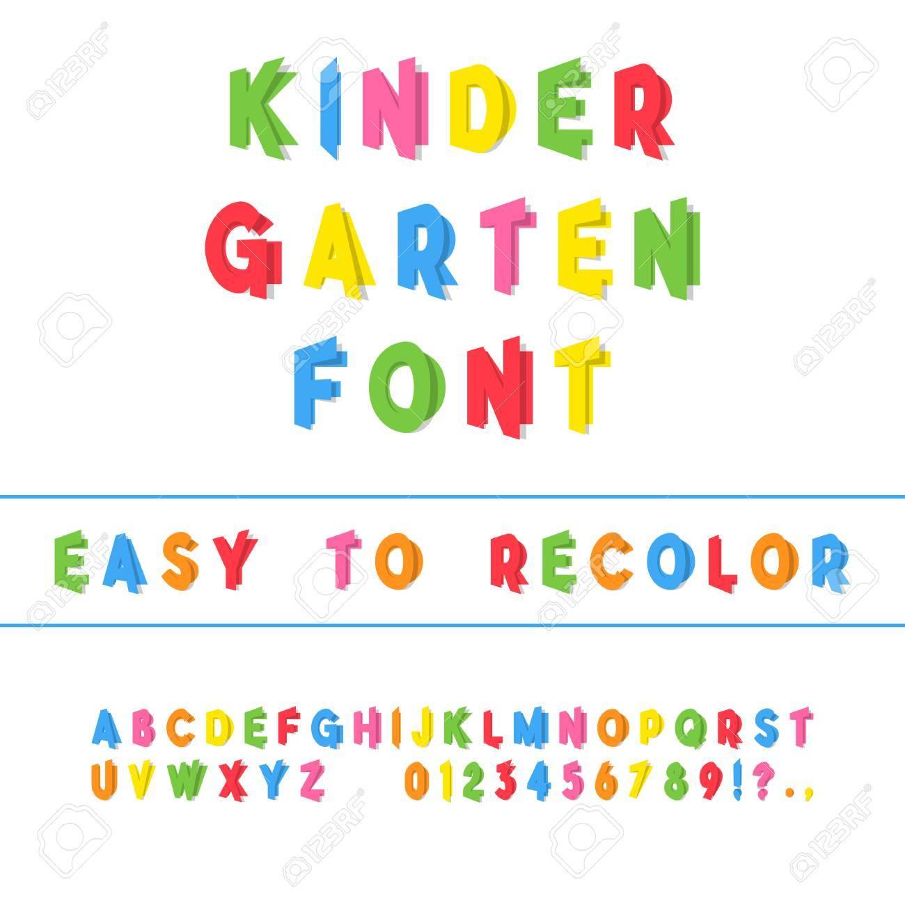 Kindergarten Font  Folded Paper Cut Sans Serif Typeface  Letters,