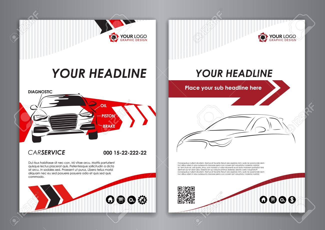 A5, A4 Set Service Car Business Card Templates. Car Repair Business ...