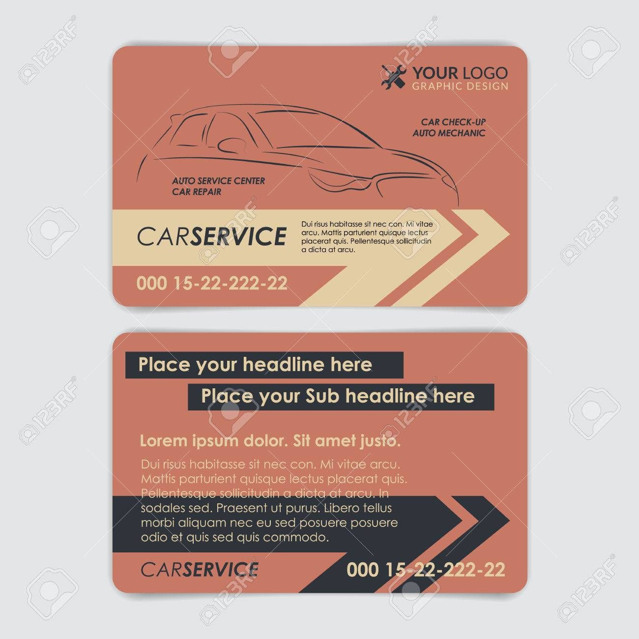Service car business card template create your own business service car business card template create your own business cards vector illustration stock reheart