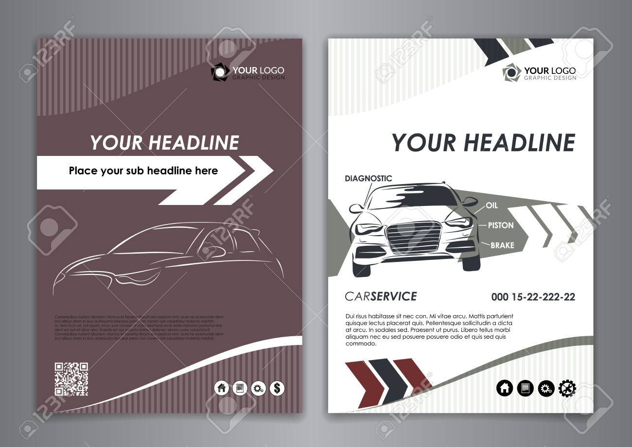 A5, A4 Set Service Car Business Card Templates. Auto Repair Leaflet ...