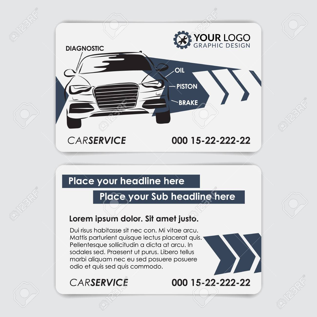 Service car business card template create your own business service car business card template create your own business cards vector illustration stock cheaphphosting Images