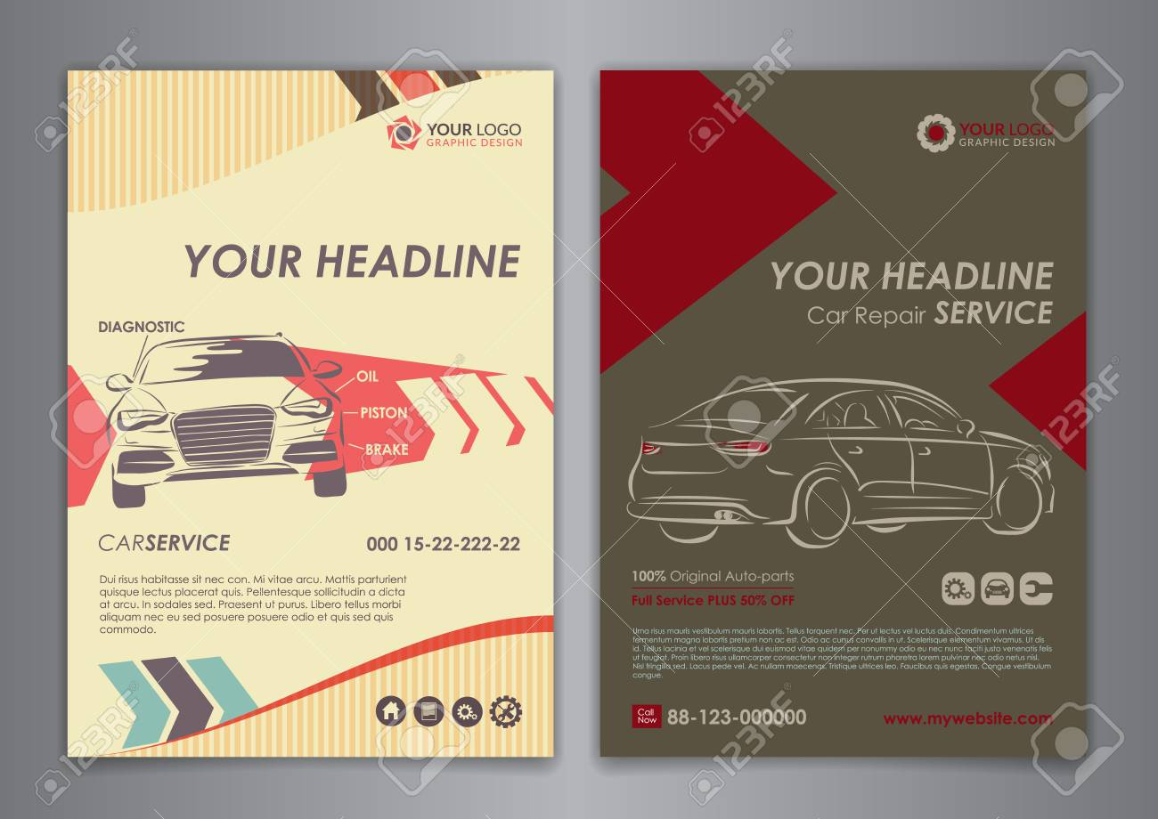 Set A5, A4 Service Car Business Layout Templates. Auto Repair ...