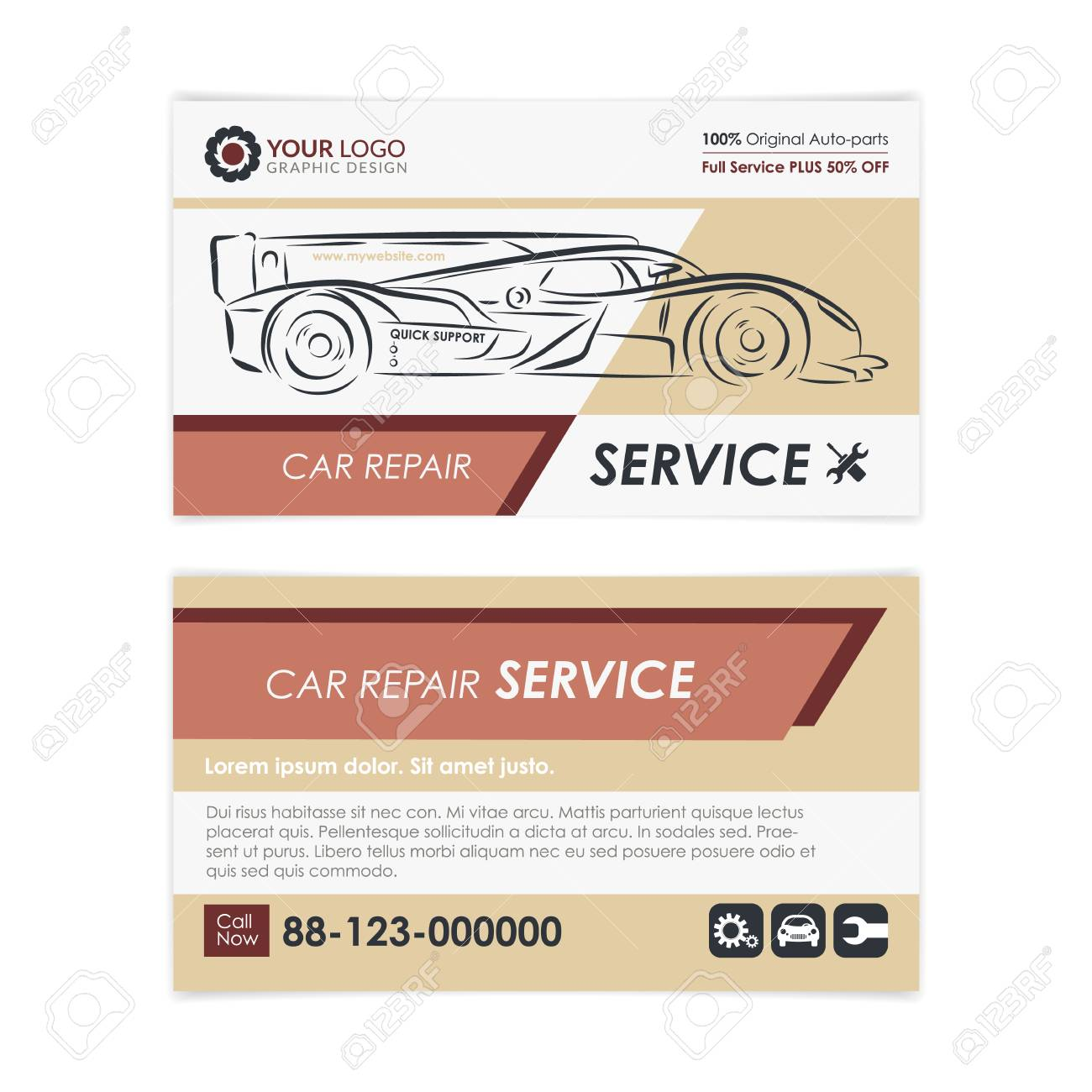 Vintage auto repair business card template create your own business vector vintage auto repair business card template create your own business cards mockup vector illustration reheart Choice Image