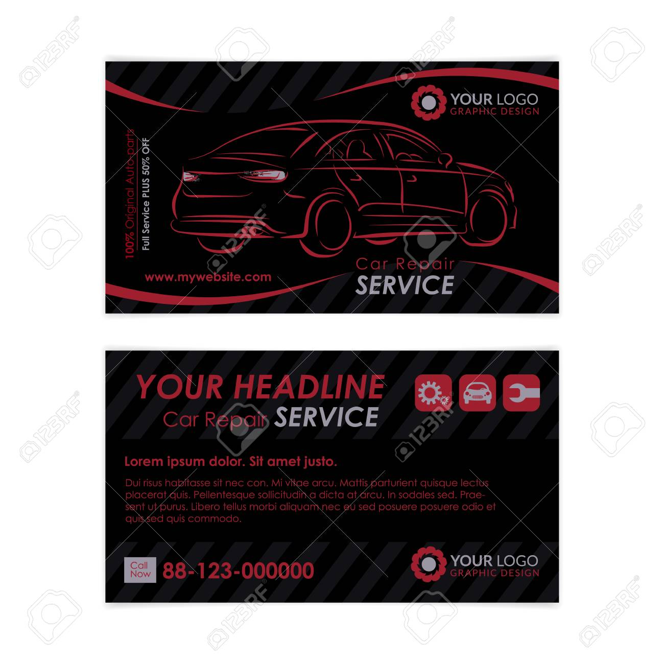 Auto repair business card template create your own business auto repair business card template create your own business cards mockup vector illustration fbccfo Choice Image