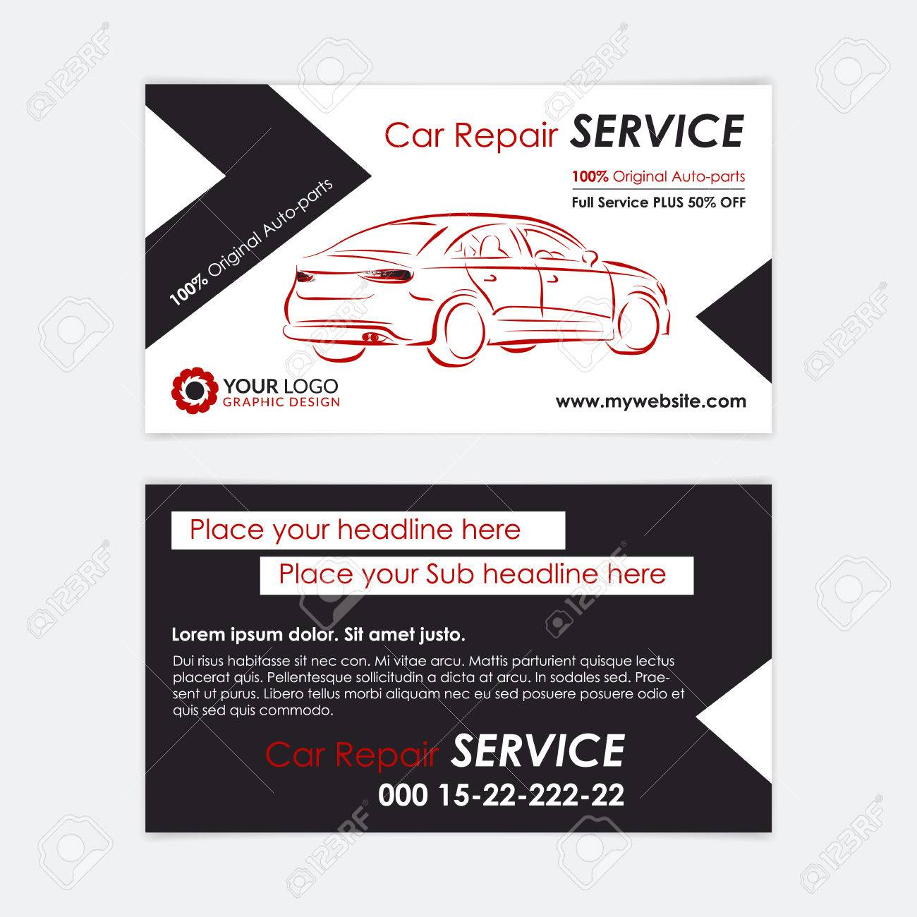 Auto repair business card template create your own business auto repair business card template create your own business cards mockup vector illustration magicingreecefo Choice Image
