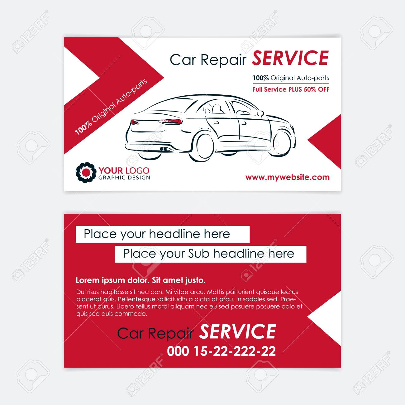 Auto repair business card template create your own business auto repair business card template create your own business cards mockup vector illustration colourmoves